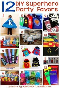 Consult this amazing list of more than 70 party supplies and recipes you can create for a superhero-themed birthday party. Superhero Party Decorations Diy, Superhero Party Supplies, Superhero Party Favors, Superhero Birthday Party, Boy Birthday, Birthday Ideas, Spy Party, Superhero Superhero, Party Bags