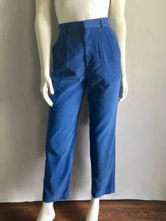 Vintage Women's 80's Blue Corduroy Pants, High Waisted, Tapered Leg by Haggar (S/M) by Freshandswanky on Etsy