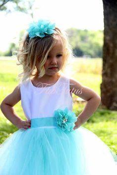 Tiffany blue tutu flower girl dress