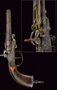 A double-barrelled pin-fire pistol: provenance: Italy dating: third quarter of the 19th Century