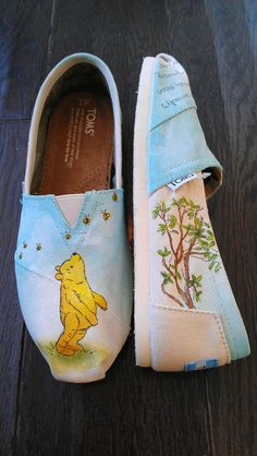 Winnie the Pooh and Bumble Bees Custom TOMS Classic by LaQuist, $100.00