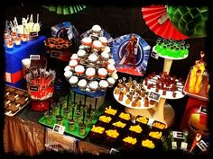 Delicious yummies at this Avengers Dessert Bar by Papel Couture. #Avengers #Party