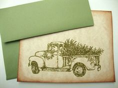 Rustic Christmas Cards Bringing Home the Tree by papergirlstudios, $16.00