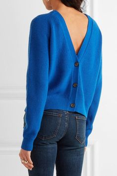 Cobalt cashmere-blend Button fastenings through back 64% cashmere, 35% cotton, 1% other fibers Dry clean