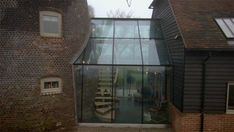 The Restoration Man - Reeds Windmill - The glass link from outside Glass Walkway, Glass Roof, Glass Extension, Extension Ideas, Extension Google, Cottage Extension, Night Garden, French Property, Amazing Spaces