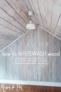 Wood Profits - how to whitewash wood: tutorial and tips for whitewashing wood and giving a farmhouse plank look - Discover How You Can Start A Woodworking Business From Home Easily in 7 Days With NO Capital Needed! Woodworking Shows, Woodworking Projects, Teds Woodworking, Woodworking Techniques, Mur Diy, Plank Walls, Wood Planks For Walls, Barn Wood Walls, Wood Plank Ceiling