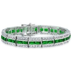 Bling Jewelry Bling Jewelry Simulated Emerald Cz Baguette Tennis... ($50) ❤ liked on Polyvore featuring jewelry, bracelets, green, evening jewelry, emerald bangle, fake jewelry, cubic zirconia tennis bracelet and cz jewelry