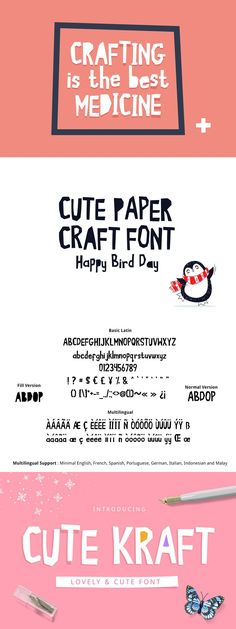 Cute Kraft Fonts Happy Bird Day, Cute Fonts, Cut And Style, Paper Cutting, Doodles, Paper Crafts, Quotes, Cool Fonts, Quotations