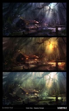 Infamous 2 Swamp Design - Color Key Development, James Paick on ArtStation at https://www.artstation.com/artwork/infamous-2-swamp-design-color-key-development