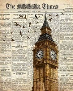 Big Ben and birds on newspaper. London. Wall art decoration print 8x10.