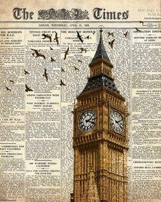 Big Ben e uccelli sul giornale. Londra. di truecolorprints su Etsy