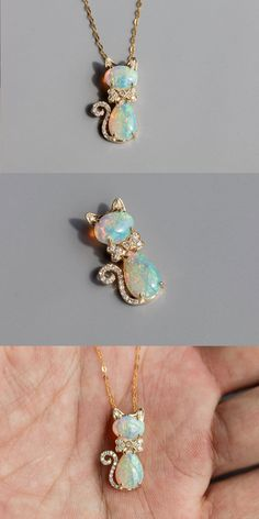 Adorable Design, Cat with a Bow Australian Solid Opal Diamond Pendant Necklace 14k Yellow Gold. Heavily Decorated with 24 Diamonds. Free Gift Bag/Box with every order! Every Opal piece is Unique. You won't find two exactly identical opal gems because of their unrepeatable play-of-color. | eBay!