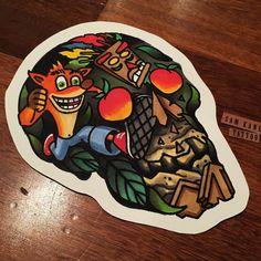 """""Crash bandicoot"" skull design for a tattoo I have this week .. #samkanetattooflash #crashbandicoot #skull"""