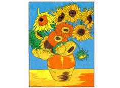 My Van Gogh Sunflower collaborative art project that is great for schools and any group that wants to create something special by working together.