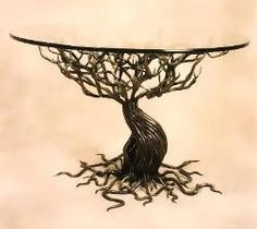 """Witness Tree, functional art,  forged & welded steel,   36"""" x 20""""H, 1996, Private Collection"""