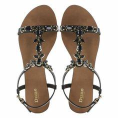 DUNE LADIES Black KHLOE - Jewel Embellished T-Bar Flat Sandal   Dune Shoes Online