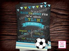 SOCCER BIRTHDAY INVITATION Chalkboard by BlissfulBethDesigns