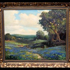 This Robert Bluebonnets Oil painting, ca 1930 left an impression on Executive Producer Marsha Bemko. Landscape Paintings, Wood Paintings, Robert Wood, Antiques Roadshow, Blue Bonnets, Old Barns, Country Art, Executive Producer, Love Painting