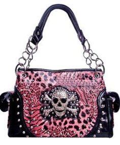 Skull & Cross Bones Zebra Leopard Print Chain Handle Satchel Purse Pink (pink) Pink Outfits, Satchel Purse, White Fashion, Pink Tops, Purses And Handbags, Fashion Bags, Me Too Shoes, Shoulder Bag, Chain