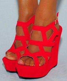 f943eba18fa Red Wedge Sandals Hollow out Open Toe Heels with Platform