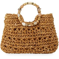 Cappelli Straworld Beaded Ring Crochet Straw Tote Bag (950 EGP) ❤ liked on Polyvore featuring bags, handbags, tote bags, toast, straw tote bags, crochet tote bag, zip top tote bags, zipper tote and crochet tote