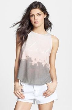 WILDFOX Cute Sexy Sleeveless Lost Angeles Road Trip Tank Top Shirt Pink Grey $98 #WildfoxCouture #TankCami #Casual