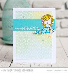 Handmade card from Anna Kossakovskaya featuring Mermaid Tail Background #mftstamps