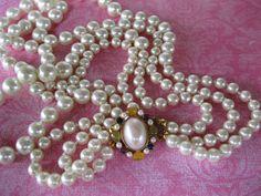 Anne Klein Pearl Necklace 3 Strand Vintage by GotMilkGlassAndMore, $29.95