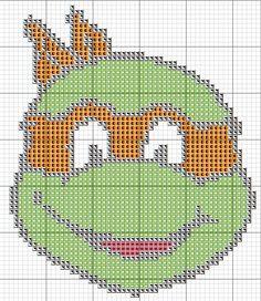 Free Cross Stitch Chart - TMNT Orange Teenage Mutant Ninja Turtle Michelangelo Crochet Chart, Embroidery Patterns, Plastic Canvas Crafts, Plastic Canvas Patterns, Cross Stitch Designs, Cross Stitch Patterns, Cross Stitching, Cross Stitch Embroidery, Ninja Turtles