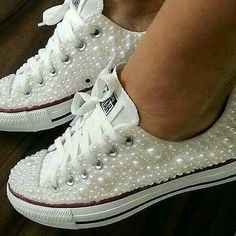 Wedding Converse Sneakers featuring Faux Pearls, Converse Wedding Sneakers with Pearls, Pearl Wedding Shoes, Pearl Sneakers, Wedding Shoes - Fashion Shoes Ideen Wedding Sneakers, Wedding Converse, Wedding Tennis Shoes, Soccer Wedding, Bling Wedding Shoes, Gold Wedding, Wedding Table, Wedding Jewelry, Rustic Wedding
