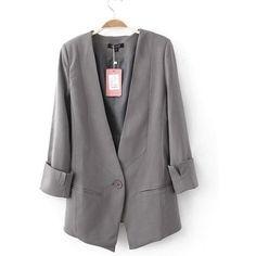 Gray Shoulder Pads Long Sleeve V-Neck One Button Design Blazer ($52) ❤ liked on Polyvore