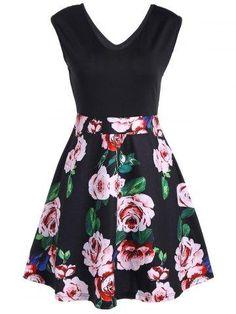 RoseGal.com - RoseGal V Neck Floral Print Sleeveless Flare Dress - AdoreWe.com