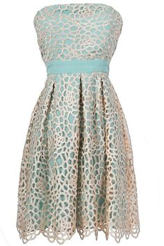 Lace Overlay Strapless Teal Dress