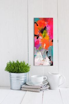 Original small abstract painting on canvas, mini abstract art, stretched canvas modern artwork, colorful painting, narrow multicolored Abstract Canvas Art, Painting Canvas, Art Deco Home, Colorful Paintings, Modern Artwork, Diy Wall Art, Flower Art, Decoration, Stretched Canvas