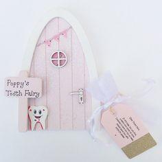 Personalised Tooth Fairy Door - Pink Glitter - with Tooth Fairy Pouch and Letter - Tooth Fairy Kit - Imaginative Play - Make Believe