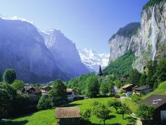 Lauterbrunnen and Staubbach Falls, Jungfrau Region, Swiss Alps, Switzerland (1988)
