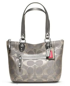 69ce41e915 COACH POPPY SIGNATURE METALLIC SMALL TOTE - COACH - Handbags Accessories -  Macys Purses And Handbags
