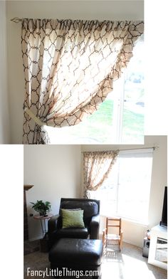 Curtain out of a bed sheet. Cute idea. Maybe use to add a feminine touch to the bedroom.