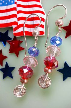 Be ready for the of July or memorial day festivities in these adorable earrings with glistening red, white and blue Swarovski Crystals. Earrings Handmade, Handmade Jewelry, Unique Jewelry, Handmade Gifts, Blue Crystals, Swarovski Crystals, Jewelry Art, Gemstone Jewelry, Wire Weaving