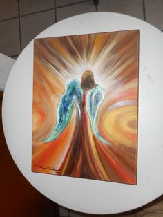 """ANGELITO CON  RAYOS DE LUZ"", OLEO SOBRE MADERA, 40 X 30 CM., PINTADO POR MA. EUGENIA LARA LOPEZ."