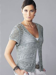 Lace cap-sleeved cardigan free knitting pattern and more short sleeve cardigan sweater knitting patterns at http://intheloopknitting.com/short-sleeve-cardigan-knitting-patterns/