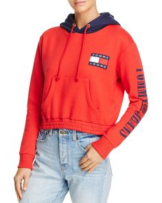 Tommy Jeans / tommy hilfiger '90s Color-Block Cropped Hoodie in Red
