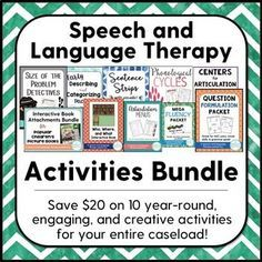 Want some new speech therapy activities for the school year but don't know where to start? Get this bundle and save $20. A variety of printables for fluency, articulation, language, and MORE! All TpT must-haves!