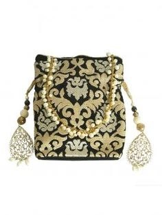 Buy Online Exotic black and golden potli - 2014 Wedding Bag, Wedding Ideas, Trousseau Packing, Bridesmaid Bags, Crochet Pouch, Potli Bags, Designer Clutch, Indiana, Girls Bags