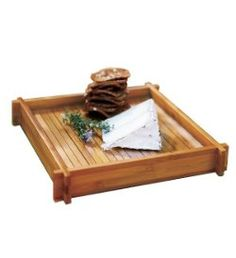 """BAMBOO TRAY, Present a pillar garden or food and beverages with exotic flair.  Slatted bamboo tray offers clean, modern lines, a removable glass insert and convenient handle cutouts. 9"""" sq. CLEARANCE $10"""