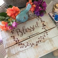 Blessed wood sign, pallet wood, distressed, farmhouse decor, farmhouse, signs with quotes, faith on display🦋