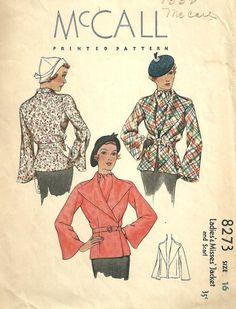 McCall 8273 | ca. 1935 Ladies' & Misses' Jacket and Scarf