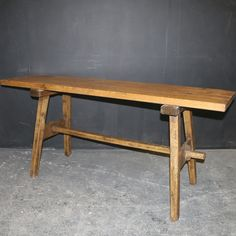 Antique TRESTLE TABLES - Antique TABLES - 19th C French pine and oak trestle table. 1860.