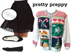 Make your ugly sweater preppy this Christmas! - Ways To Style Ugly Sweaters - Seventeen