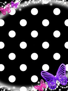 Cute black polka dotted wallpaper with jeweled butterflies. Cool Wallpapers For Phones, Cute Wallpapers, Wallpaper Backgrounds, Iphone Wallpapers, Flowery Wallpaper, Butterfly Wallpaper, Disney Girls, Guys And Girls, Polka Dots